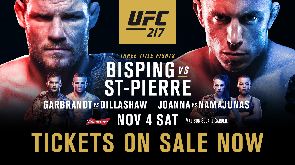 UFC 217 will be the UFC's second show at Madison Square Garden, the iconic arena where combat sports greats have built their legacy. Legends Bisping and St-Pierre look to cement theirs in the can't-miss main event in the year's biggest show. Head to UFC.com/tickets now to be a part of the historic event.