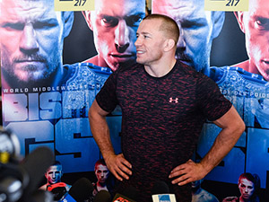 Georges St-Pierre addresses members of the media during the UFC Media Day at Tristar Gym on October 25, 2017 in Montreal, Quebec, Canada. (Photo by Minas Panagiotakis/Getty Images)
