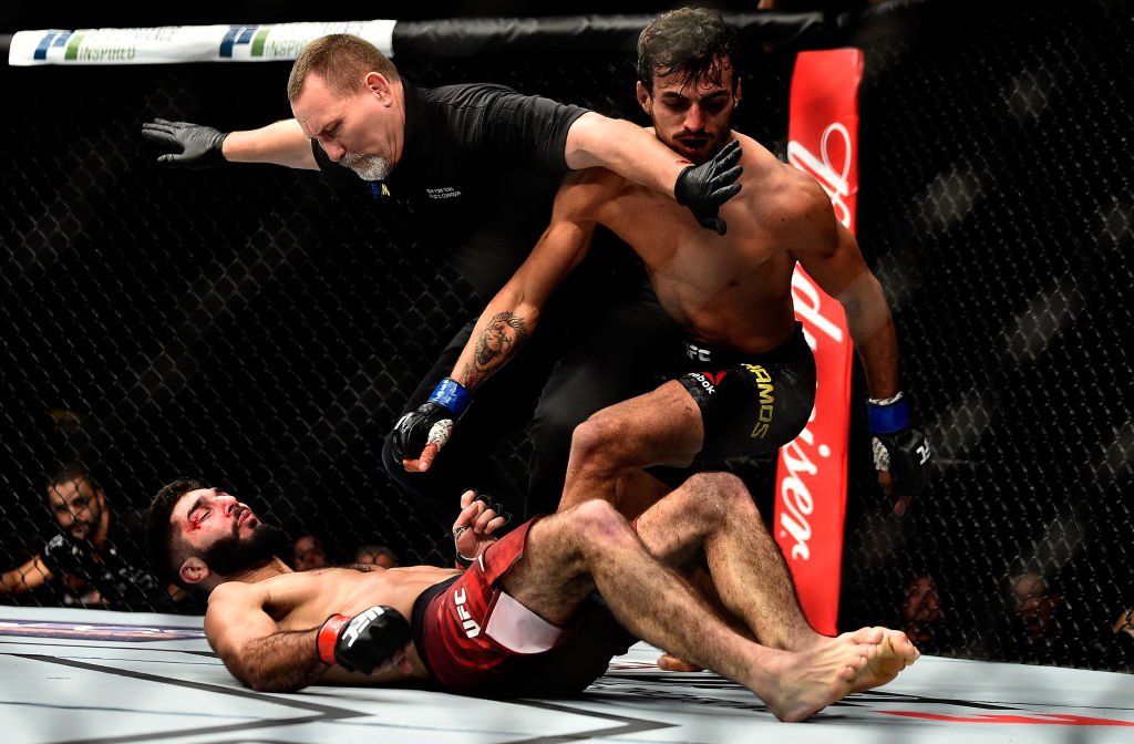Ricardo Ramos knocks down Aiemann Zahabi during UFC 217 at Madison Square Garden on November 4, 2017 in New York City. (Photo by Jeff Bottari/Zuffa LLC)