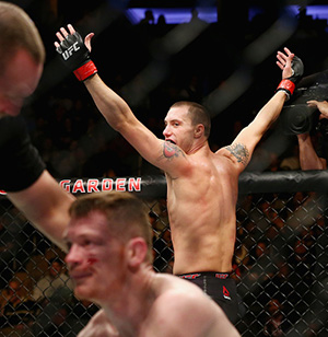 James Vick celebrates after bringing down <a href='../fighter/joseph-duffy'>Joe Duffy</a> of Ireland in their lightweight bout during the UFC 217 event at Madison Square Garden on November 4, 2017 in New York City.  (Photo by Mike Stobe/Getty Images)
