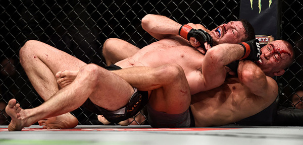 Georges St-Pierre attempts to submit Michael Bisping during UFC 217 inside Madison Square Garden on November 4, 2017 in New York City. (Photo by Brandon Magnus/Zuffa LLC)