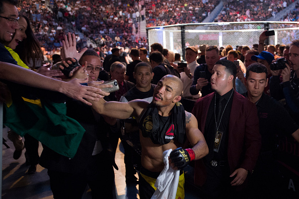 Jose Aldo celebrates after defeating Frankie Edgar during UFC 200 at T-Mobile Arena on July 9, 2016 in Las Vegas, Nevada. (Photo by Cooper Neill/Zuffa LLC)