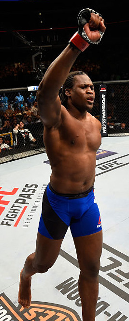 Ngannou celebrates after defeating Bojan Mihajlovic during the UFC Fight Night event on 7/23/16 in Chicago, IL. (Photo by Josh Hedges/Zuffa LLC)