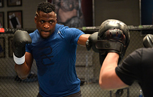 Ngannou at the TUF Gym on 3/2/17 in Las Vegas, NV. (Photo by Brandon Magnus/Zuffa LLC)