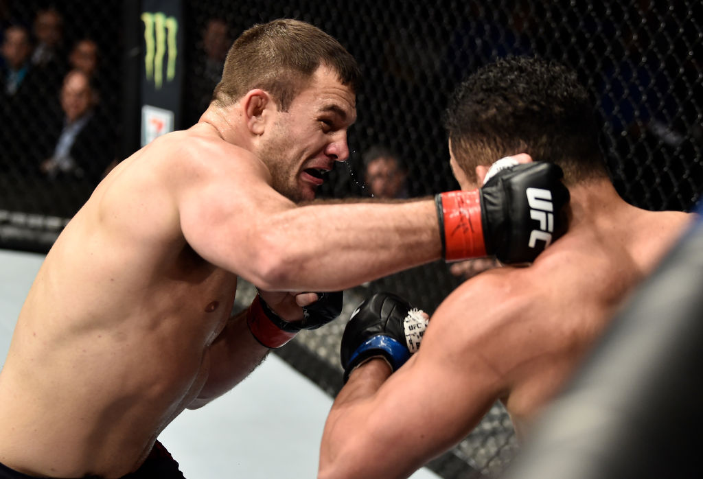BOSTON, MA - JANUARY 20: (L-R) <a href='../fighter/Gian-Villante'>Gian Villante</a> punches <a href='../fighter/Francimar-Barroso'>Francimar Barroso</a> of Brazil in their light heavyweight bout during the UFC 220 event at TD Garden on January 20, 2018 in Boston, Massachusetts. (Photo by Jeff Bottari/Zuffa LLC/Zuffa LLC via Getty Images)