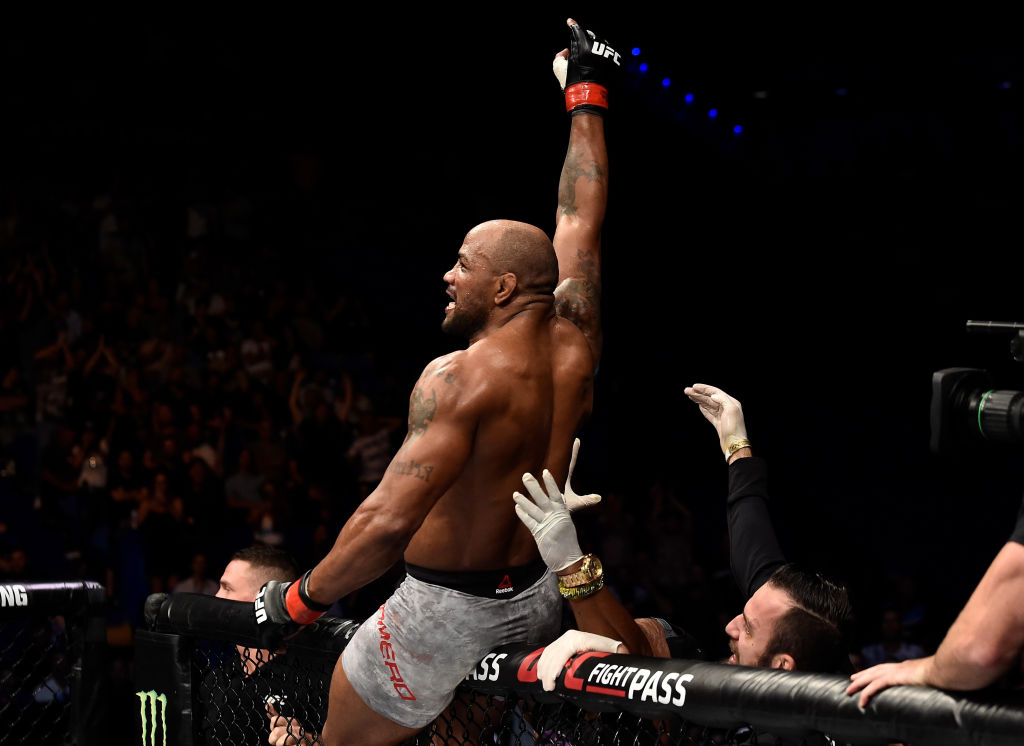 PERTH, AUSTRALIA - FEBRUARY 11: Yoel Romero of Cuba celebrates his knockout victory over <a href='../fighter/Luke-Rockhold'><a href='../fighter/Luke-Rockhold'>Luke Rockhold</a></a> in their interim middleweight title bout during the UFC 221 event at Perth Arena on February 11, 2018 in Perth, Australia. (Photo by Jeff Bottari/Zuffa LLC/Zuffa LLC via Getty Images)