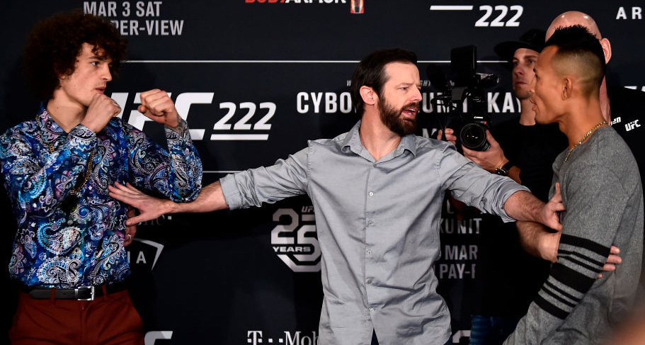 Opponents <a href='../fighter/Sean-O-Malley'>Sean O'Malley</a> (L) and Andre Soukhamthath are separated by UFC matchmaker Sean Shelby (C) as they face off for media during the UFC 222 <a href='../event/Ultimate-Brazil'>Ultimate </a>Media Day on March 1, 2018 in Las Vegas, NV. (Photo by Jeff Bottari/Zuffa LLC)