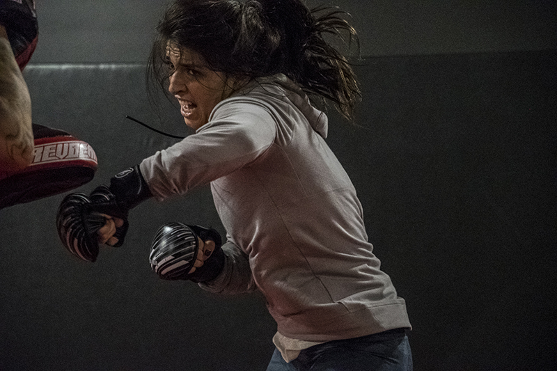 Mackenzie Dern works out at the UFC Performance Institute in preparation for UFC 222 (Photo credit: Juan Cardenas)