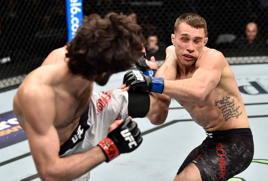 BROOKLYN, NEW YORK - APRIL 07: (L-R) Zabit Magomedsharipov of Russia kicks Kyle Bochniak in their featherweight bout during the UFC 223 event inside Barclays Center on April 7, 2018 in Brooklyn, New York. (Photo by Jeff Bottari/Zuffa LLC)