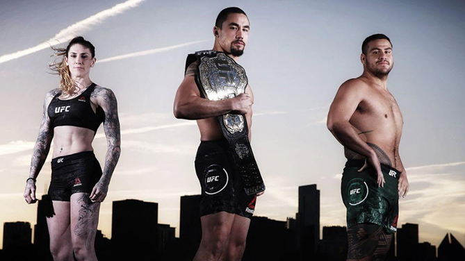 From left to right: <a href='../fighter/megan-anderson'>Megan Anderson</a>, <a href='../fighter/robert-whittaker'>Robert Whittaker</a>, <a href='../fighter/Tai-Tuivasa'>Tai Tuivasa</a>