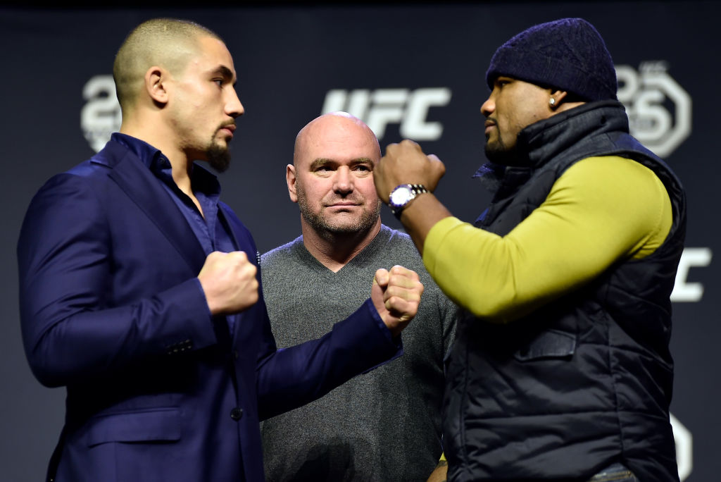 BROOKLYN, NEW YORK - APRIL 06: (L-R) Opponents Robert Whittaker and Yoel Romero face off during the UFC press conference inside Barclays Center on April 6, 2018 in Brooklyn, New York. (Photo by Jeff Bottari/Zuffa LLC/Zuffa LLC via Getty Images)