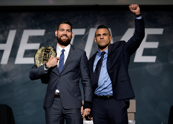 Weidman (left) and Belfort in LA