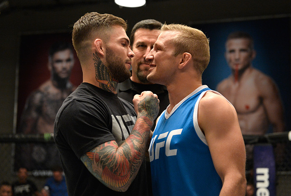 LAS VEGAS, NV - MARCH 01: (L-R) UFC bantamweight champion Cody Garbrandt and TJ Dillashaw face off during the filming of The Ultimate Fighter: Redemption at the UFC TUF Gym on March1, 2017 in Las Vegas, Nevada. (Photo by Brandon Magnus/Zuffa LLC)