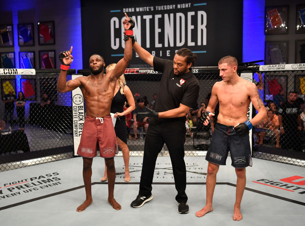 Montel Jackson celebrates after his TKO victory over Rico Disciullo in their bantamweight bout during Dana White's Tuesday Night Contender Series at the TUF Gym on June 12, 2018 in Las Vegas, Nevada. (Photo by Jeff Bottari/DWTNCS LLC)