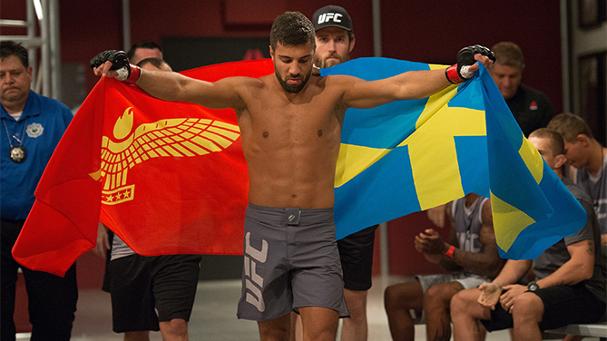 David Teymur prepares to enter the Octagon before facing Johnny Nunez during the filming of The Ultimate Fighter: Team McGregor vs Team Faber at the UFC TUF Gym on August 11, 2015 in Las Vegas, Nevada. (Photo by Brandon Magnus/Zuffa LLC)