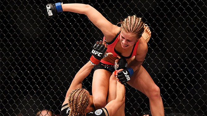 Felice Herrig and Paige VanZant grapple in their women's strawweight bout during the UFC Fight Night event at Prudential Center on April 18, 2015 in Newark, NJ. (Photo by Jeff Bottari/Zuffa LLC)