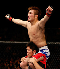 Gomi reacts after the conclusion of the third round of his lightweight bout against Mac Danzig at the UFC Macao event inside CotaiArena on Nov 10, 2012 in Macau, Macau. (Photo by Josh Hedges/Zuffa LLC)