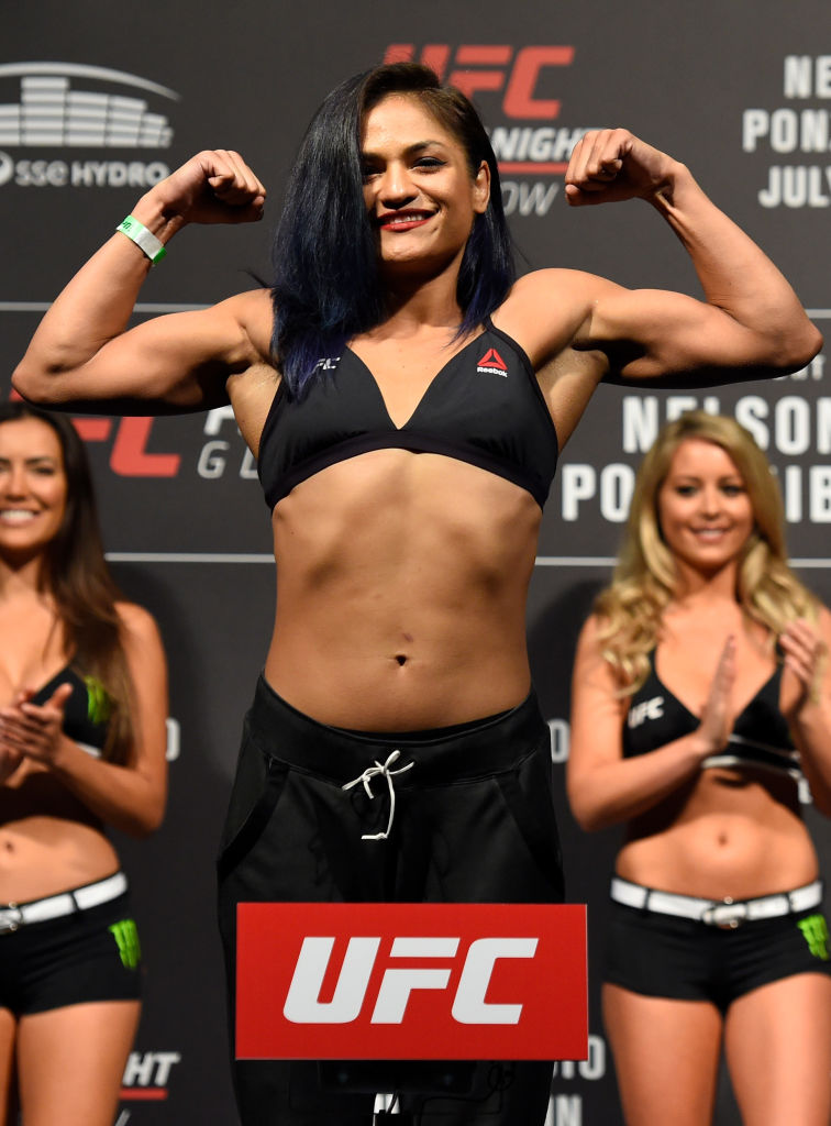GLASGOW, SCOTLAND - JULY 15:  Cynthia Calvillo poses on the scale during the UFC Fight Night weigh-in at the SSE Hydro Arena Glasgow on July 15, 2017 in Glasgow, Scotland. (Photo by Josh Hedges/Zuffa LLC)