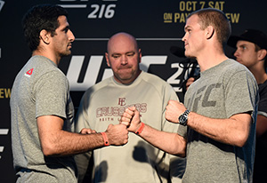 (L-R) Beneil Dariush of Iran and Evan Dunham face off during the UFC 216 Ultimate Media Day on October 4, 2017 in Las Vegas, NV (Photo by Brandon Magnus/Zuffa LLC)