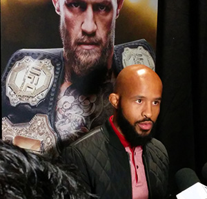 Demetrious Johnson answers questions from the media following the launch of EA Sports UFC 3 on Nov. 2, 2017 at Madison Square Garden in NY, NY. Photo by Steve Latrell.