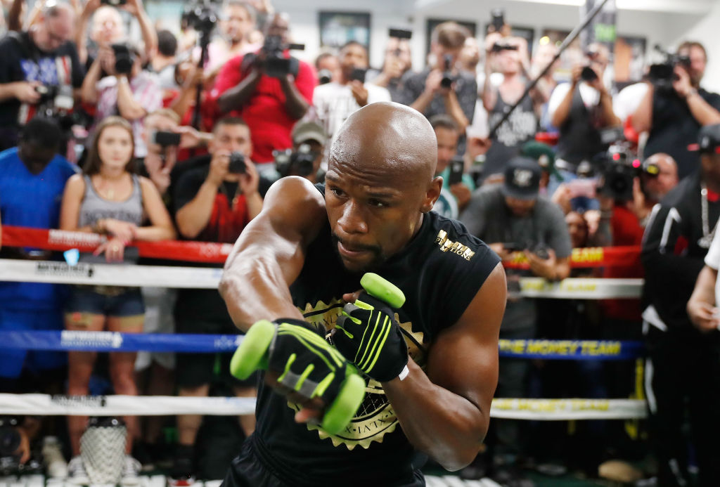 LAS VEGAS, NV - AUGUST 10: Floyd Mayweather Jr. holds a media workout at the Mayweather Boxing Club on August 10, 2017 in Las Vegas, Nevada. Mayweather will face UFC lightweight champion Conor McGregor in a boxing match at T-Mobile Arena on August 26 in Las Vegas. (Photo by Isaac Brekken/Getty Images)