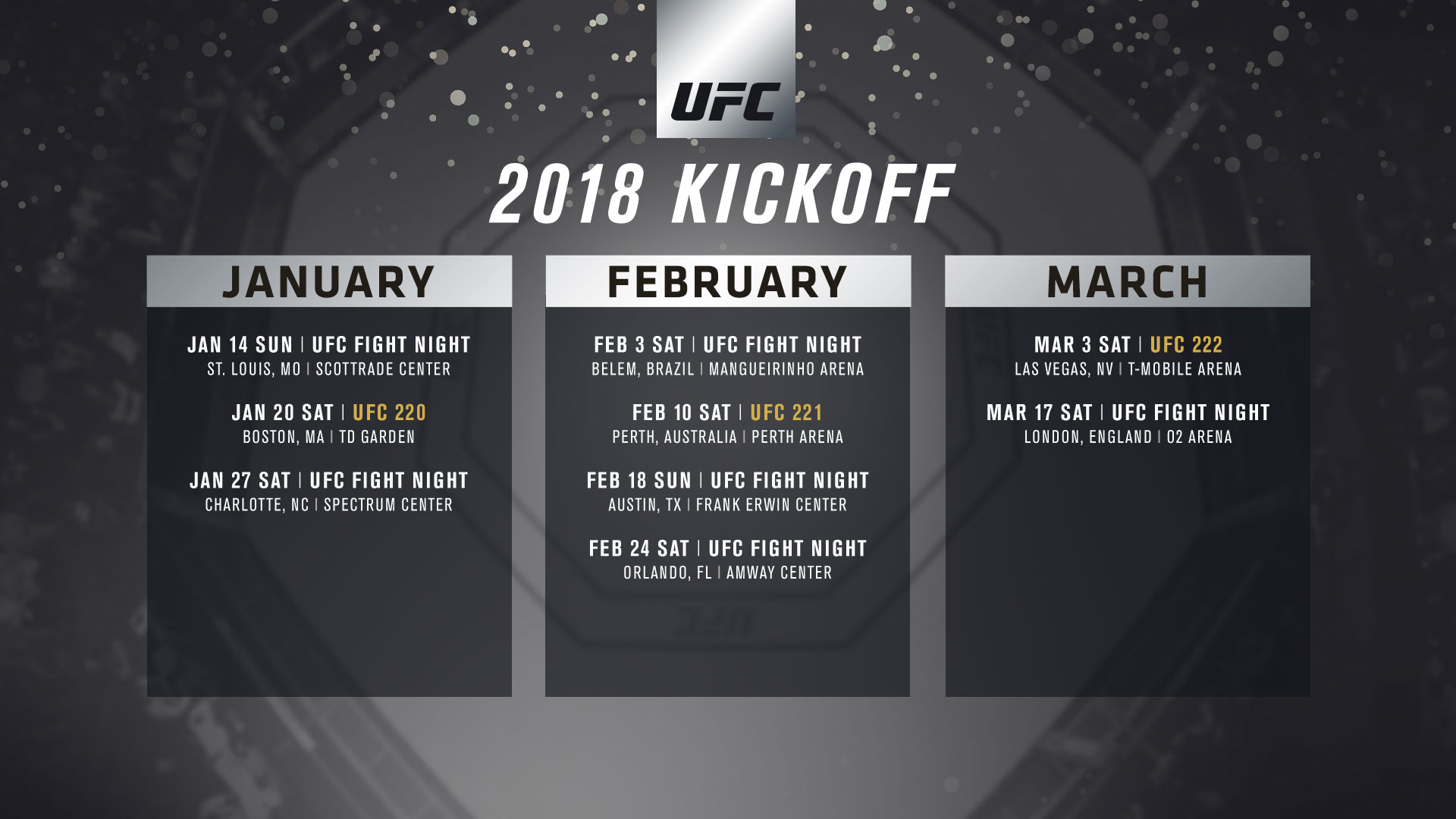 ufc announces q1 event schedule | ufc