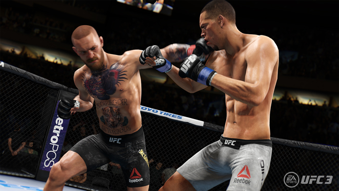 Conor McGregor punches Nate Diaz in EA Sports UFC 3