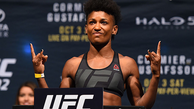 HOUSTON, TX - OCTOBER 02: Angela Hill steps on the scale during the UFC 192 weigh-in at the Toyota Center on October 2, 2015 in Houston, Texas. (Photo by Josh Hedges/Zuffa LLC)