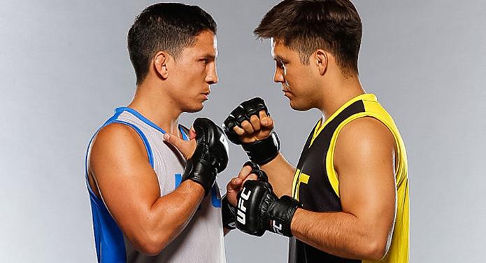 LAS VEGAS, NEVADA - JULY 6: (L-R) Head coaches Joseph Benavidez and Henry Cejudo pose for a portrait during a UFC photo session. (Photo by Ian Spanier/Zuffa LLC)