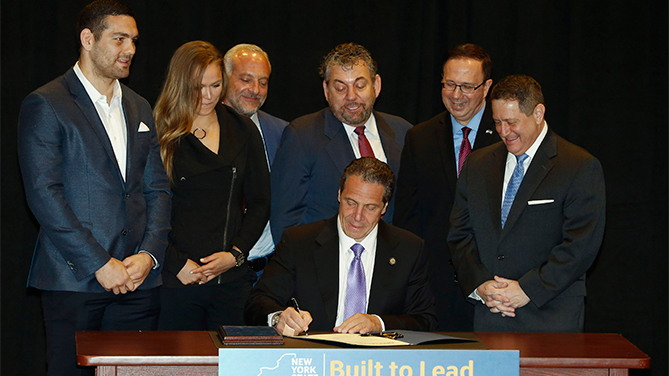 NY Governor Cuomo signs bill to make professional MMA legal in state (Jeff Zelevansky/Zuffa LLC/Zuffa LLC via Getty Images)