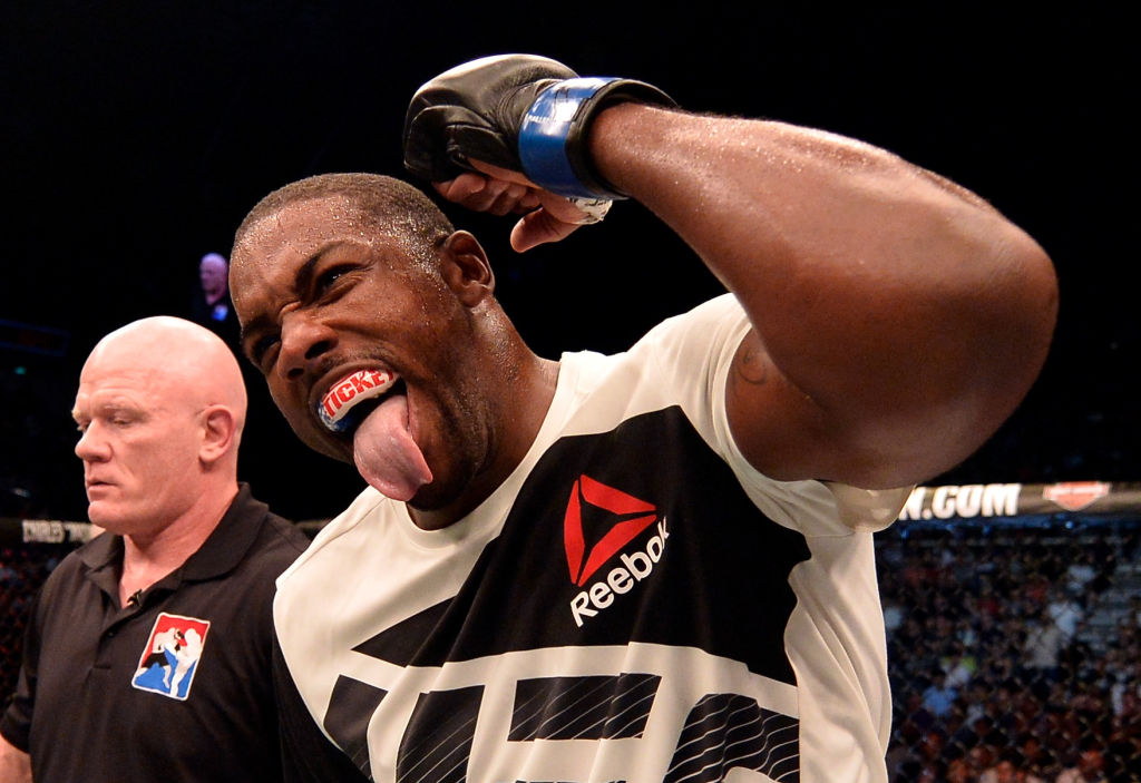 Walt Harris celebrates after his TKO victory over Cyril Asker of France in their heavyweight bout during the UFC Fight Night event at the Singapore Indoor Stadium on June 17, 2017 in Singapore. (Photo by Brandon Magnus/Zuffa LLC)
