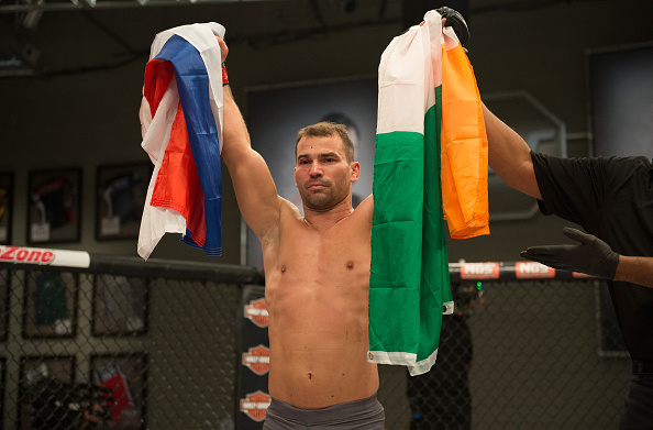LAS VEGAS, NV - AUGUST 10: (L-R) Artem Lobov celebrates his victory over James Jenkins during the filming of The Ultimate Fighter: Team McGregor vs Team Faber at the UFC TUF Gym on August 10, 2015 in Las Vegas, Nevada. (Photo by Brandon Magnus/Zuffa LLC)
