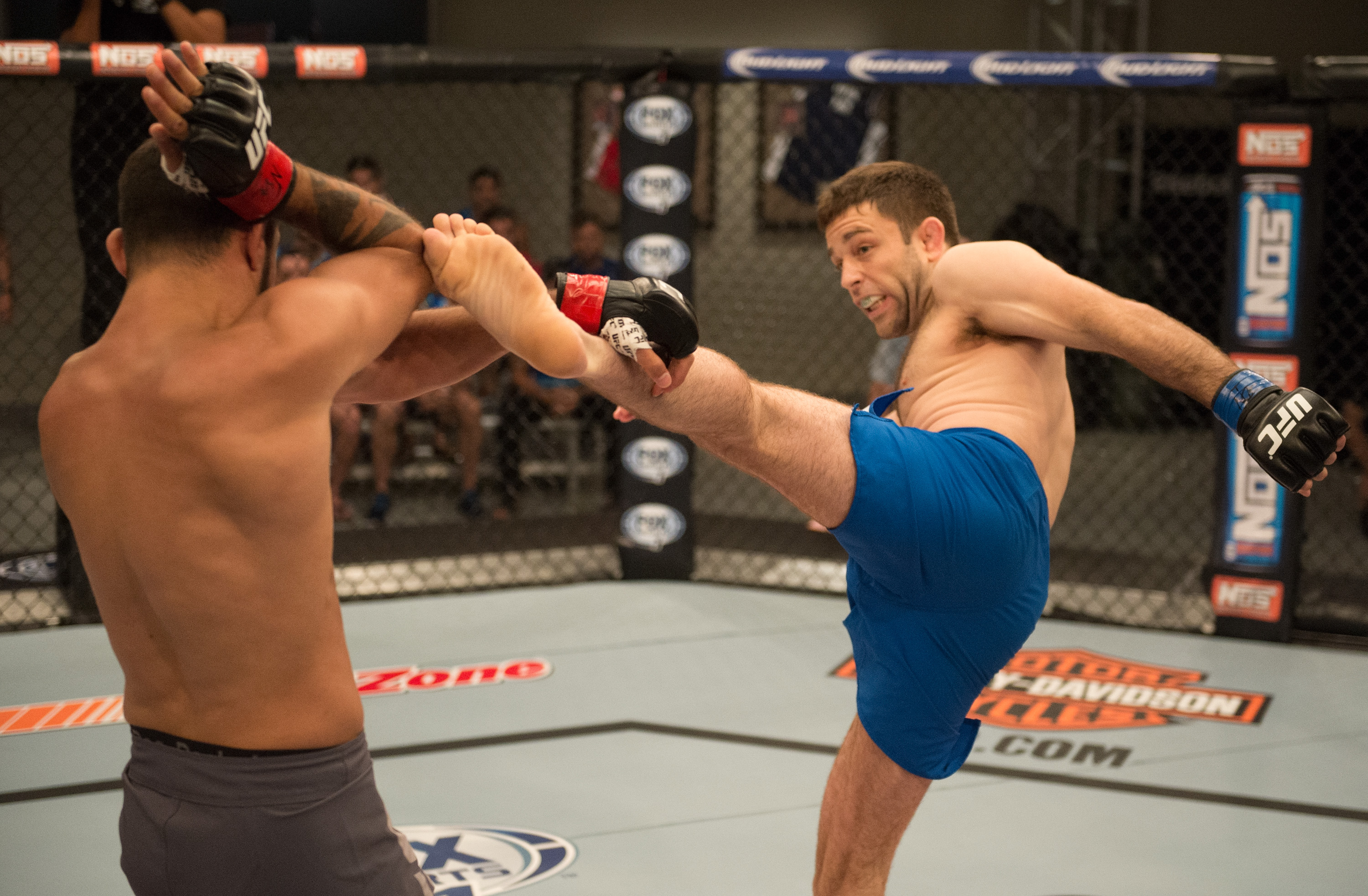 (R-L) Ryan Hall kicks Frantz Slioa during the filming of The Ultimate Fighter: Team McGregor vs Team Faber. (Brandon Magnus/Zuffa LLC)