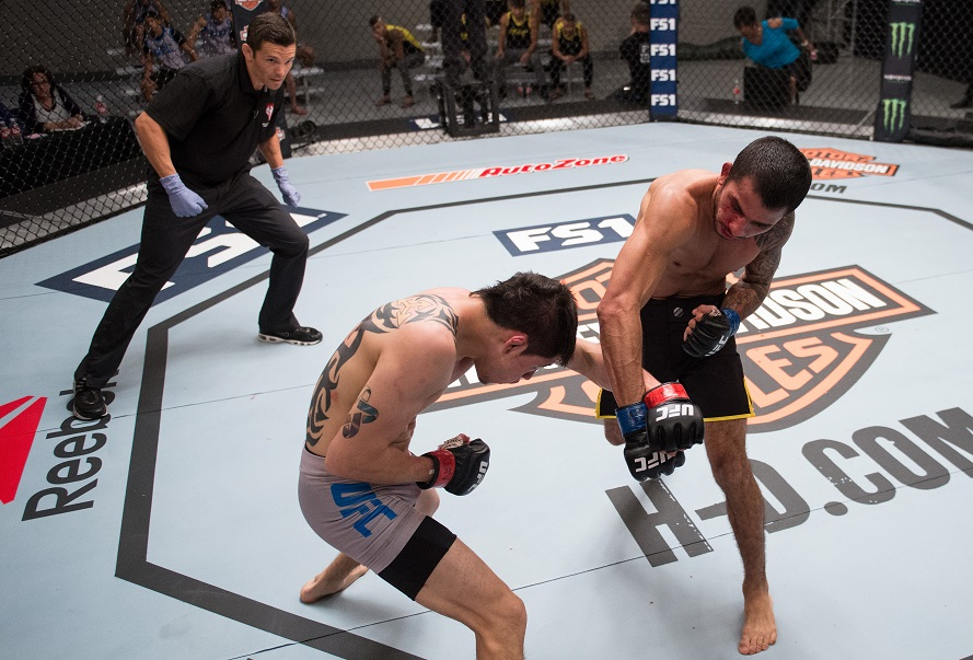 Alex Pantoja punches <a href='../fighter/brandon-moreno'><a href='../fighter/brandon-moreno'>Brandon Moreno</a></a> during his win in the opening round of this season's The Ultimate Fighter