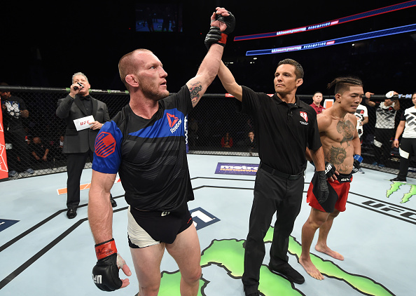 LAS VEGAS, NV - JULY 07: Gray Maynard celebrates after his unanimous-decision victory over Teruto Ishihara of Japan in their featherweight bout during The Ultimate Fighter Finale at T-Mobile Arena on July 7, 2017 in Las Vegas, Nevada. (Photo by Brandon Magnus/Zuffa LLC)