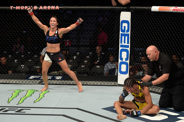 LAS VEGAS, NV - JULY 7: Tecia Torres celebrates her submission victory against Juliana Lima during The Ultimate Fighter Finale event inside the T-Mobile Arena on July 7, 2017 in Las Vegas, Nevada. (Photo by Rey Del Rio/Getty Images)