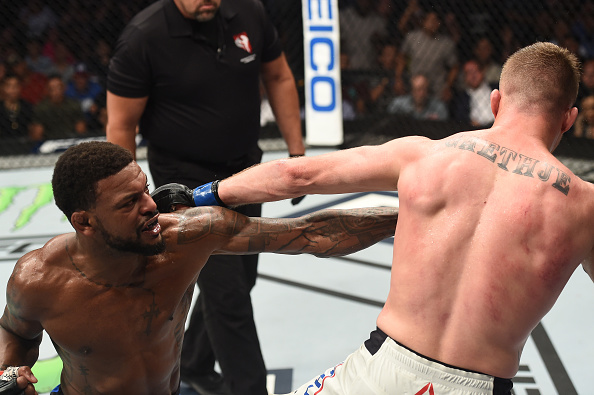 <a href='../fighter/Michael-Johnson'>Michael Johnson</a> punches <a href='../fighter/Justin-Gaethje'>Justin Gaethje</a> during <a href='../event/The-Ultimate-Fighter-T-Rampage-vs-T-Forrest-Finale'><a href='../event/The-Ultimate-Fighter-Finale-Team-Nog-vs-Team-Mir'><a href='../event/The-Ultimate-Fighter-Team-Liddell-vs-Team-Ortiz-FINALE'><a href='../event/TUF13-finale'><a href='../event/the-ultimate-fighter-a-champion-will-be-crowned'>The Ultimate Fighter Finale </a></a></a></a></a>on July 7, 2017 in Las Vegas, Nevada. (Photo by Brandon Magnus/Zuffa LLC)