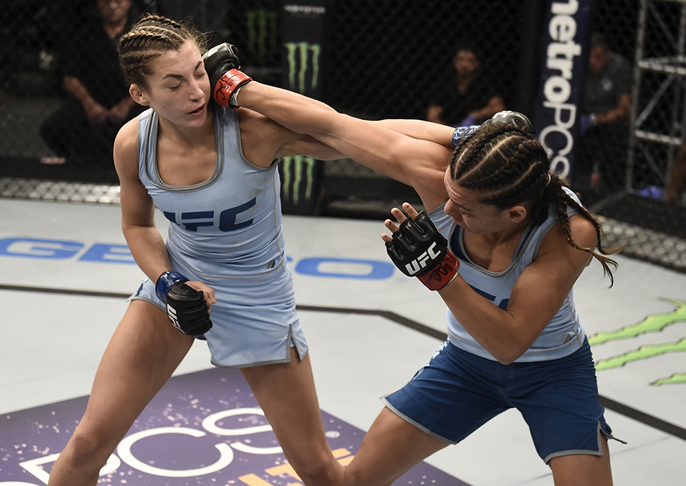 Nicco Montano punches Montana Stewart during the quarterfinals of The Ultimate Fighter