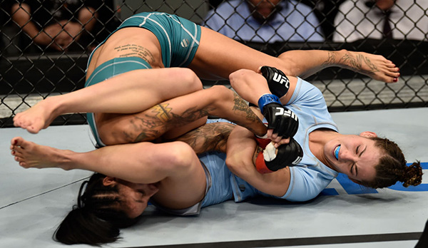 (R-L) Montana De La Rosa secures an arm bar submission against Christina Marks in their women's flyweight bout during the TUF Finale event inside Park Theater on December 01, 2017 in Las Vegas, Nevada. (Photo by Jeff Bottari/Zuffa LLC)