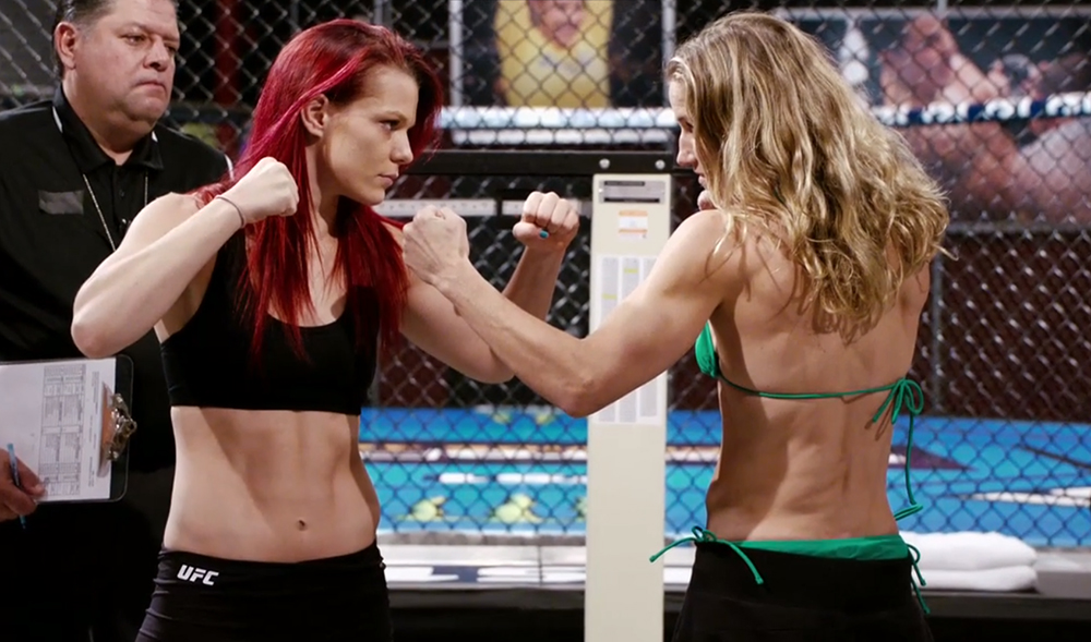 Barb Honchak faces off with Gillian Robertson before their bout on The Ultimate Fighter
