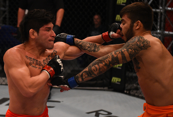 (L-R) Dileno Lopes punches Matheus Nicolau during the semi-finals for filming of The Ultimate Fighter Brazil: Team Nogueira vs Team Rua on March 6, 2015 in Las Vegas, NV. (Photo by Brandon Magnus/Zuffa LLC)