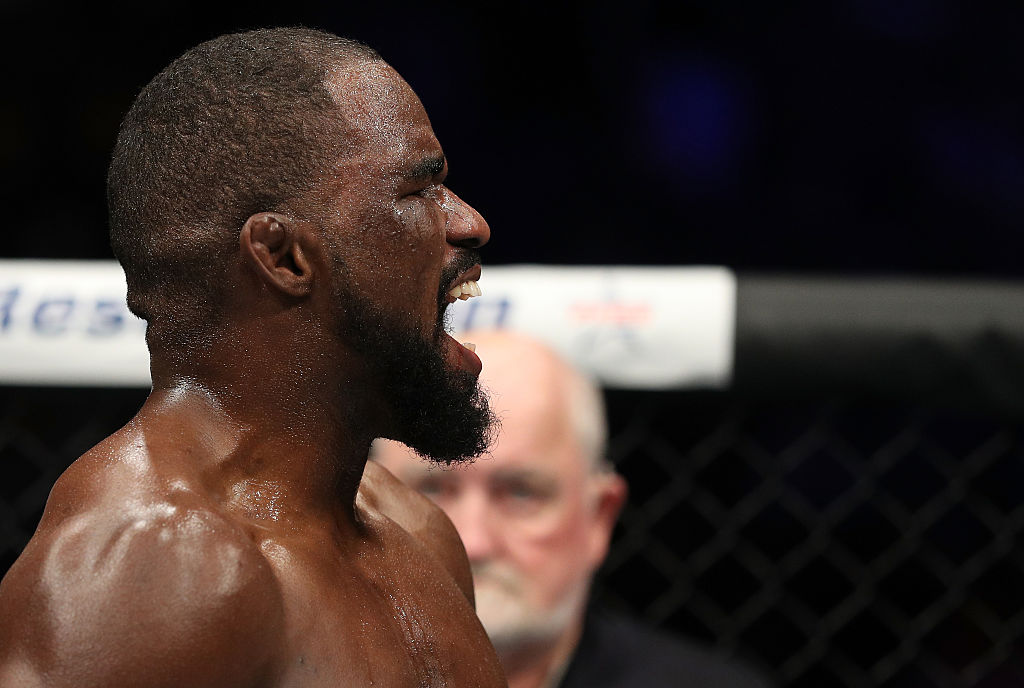 <a href='../fighter/corey-anderson'>Corey Anderson</a> celebrates after his TKO victory over <a href='../fighter/Sean-O-Connell'>Sean O'Connell</a> on December 9, 2016 in Albany, New York. (Photo by <a href='../fighter/Patrick-Smith'>Patrick Smith</a>/Zuffa LLC)