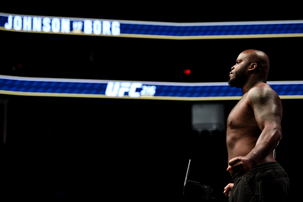 LAS VEGAS, NV - OCTOBER 06: Derrick Lewis poses on the scale during the UFC 216 weigh-in inside T-Mobile Arena on October 6, 2017 in Las Vegas, Nevada. (Photo by Brandon Magnus/Zuffa LLC/Zuffa LLC via Getty Images)