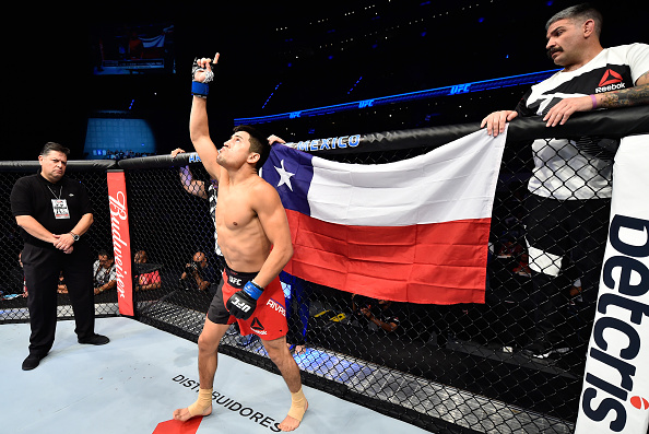 MEXICO CITY, MEXICO - AUGUST 05: Diego Rivas of Chile enters the Octagon before facing Jose Quinonez of Mexico in their bantamweight bout during the UFC Fight Night event at Arena Ciudad de Mexico on August 5, 2017 in Mexico City, Mexico. (Photo by Jeff Bottari/Zuffa LLC/Zuffa LLC via Getty Images)