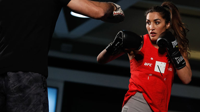 Tatiana Suarez holds an open training session on May 16, 2018 in Santiago, Chile. (Photo by Buda Mendes/Zuffa LLC)