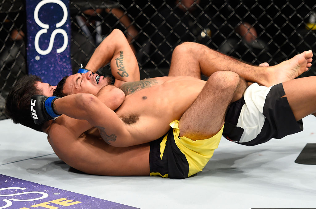 DENVER, CO - JANUARY 28:  Alexandre Pantoja of Brazil (bottom) attempts to submit Eric Shelton in their flyweight bout during the UFC Fight Night event at the Pepsi Center on January 28, 2017 in Denver, Colorado. (Photo by Josh Hedges/Zuffa LLC)