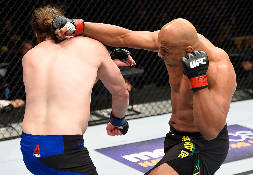 DENVER, CO - JANUARY 28:  (R-L) Marcos Rogerio de Lima of Brazil punches Jeremy Kimball in their light heavyweight bout during the UFC Fight Night event at the Pepsi Center on January 28, 2017 in Denver, Colorado. (Photo by Josh Hedges/Zuffa LLC)