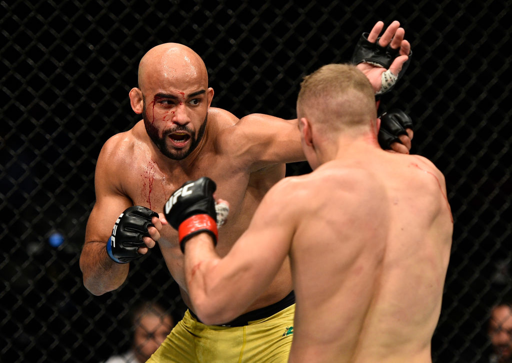 GDANSK, POLAND - OCTOBER 21:  (L-R) Warlley Alves of Brazil punches Salim Touahri of Poland in their welterweight bout during the UFC Fight Night event inside Ergo Arena on October 21, 2017 in Gdansk, Poland. (Photo by Jeff Bottari/Zuffa LLC)