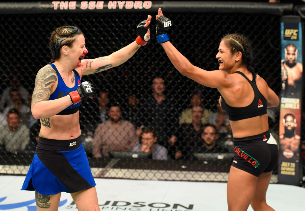 GLASGOW, SCOTLAND - JULY 16: (L-R) Joanne Calderwood of Scotland and Cynthia Calvillo high five in their women's strawweight bout during the UFC Fight Night event at the SSE Hydro Arena Glasgow on July 16, 2017 in Glasgow, Scotland. (Photo by Josh Hedges/Zuffa LLC)