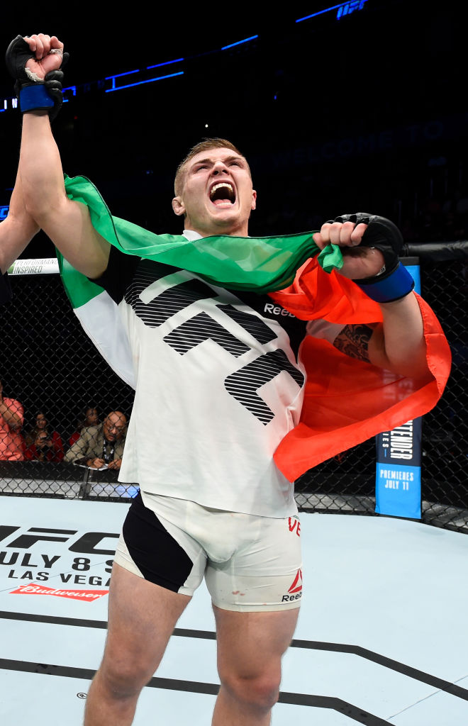 Marvin Vettori celebrates his victory over Vitor Miranda on June 25, 2017 in Oklahoma City, Oklahoma. (Photo by Brandon Magnus/Zuffa LLC)